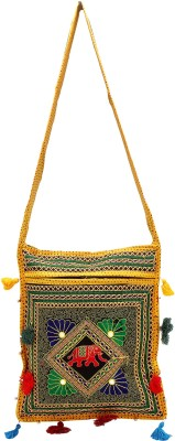 Rastogi Handicrafts Women Casual Yellow Cotton Sling Bag