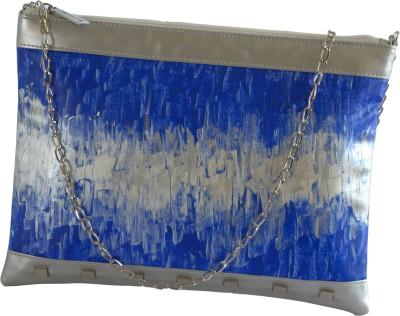 Demure Women Casual Blue, Silver Canvas, PU Sling Bag