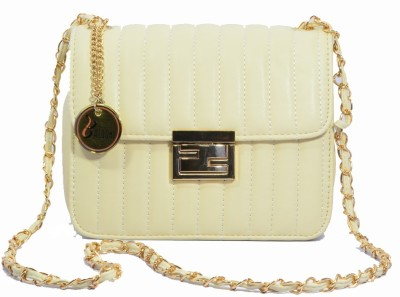 Balooni Girls Evening/Party White PU Sling Bag