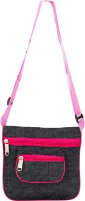 Glitters Girls Casual, Formal Black, Pink Canvas Sling Bag