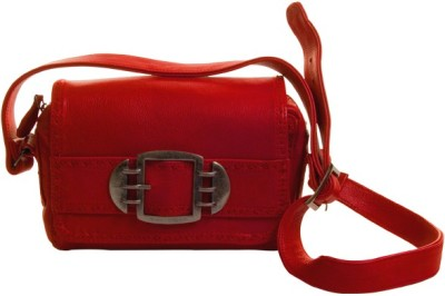 Stylogy Girls Casual Red Genuine Leather Sling Bag