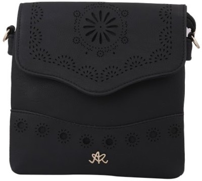 Aarushi Khurana Women Black Leatherette Sling Bag