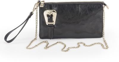 FT Women Formal Black Genuine Leather Sling Bag