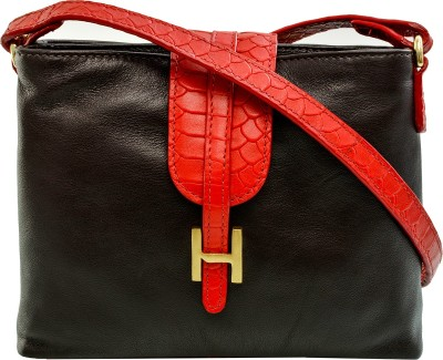 Hidesign Women Brown Genuine Leather Sling Bag at flipkart
