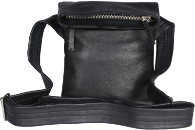 Viari Men Casual Black Genuine Leather Shoulder Bag
