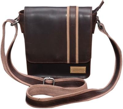 Le Craf Men Casual Brown Genuine Leather Sling Bag