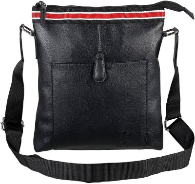 Shrih Men, Women Black PU Messenger Bag