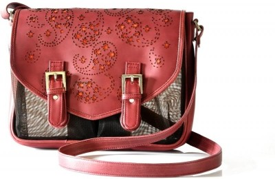 Dhruva Women Casual Red Genuine Leather, Nylon Sling Bag