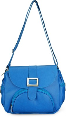 Frosty Fashion Women Blue PU Sling Bag