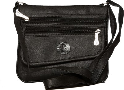 Flamboyance Women Black Leatherette Sling Bag