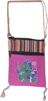 HR Handicrafts Girls Pink Canvas Sling Bag