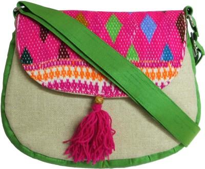 Stylocus Women Casual Green Jute Sling Bag