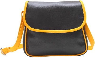 The Parallels Girls, Women Casual Black PU Sling Bag