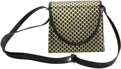 Naitik Products Women Gold, Black Leatherette Sling Bag