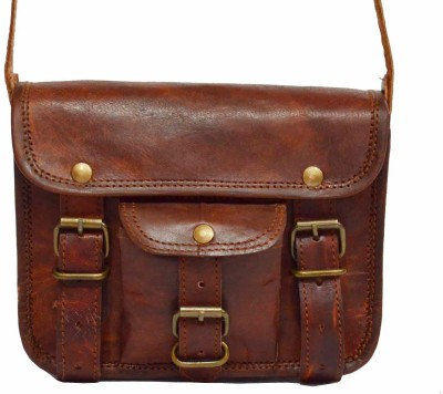 Craft World Men, Boys, Girls, Women Brown Genuine Leather Sling Bag