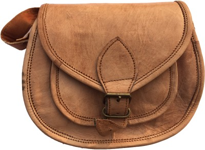 Rstore Girls Brown Genuine Leather Sling Bag