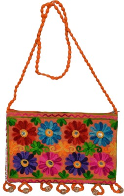 Vedic Deals Women Casual Orange Canvas Sling Bag