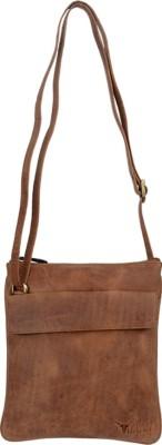 HIDEKRAFT Women Casual Tan Genuine Leather Sling Bag