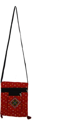The Living Craft Girls Red Cotton Sling Bag
