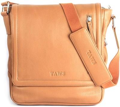 Taws Men Casual Tan Genuine Leather Sling Bag