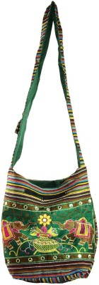 Rajkruti Women Green, Multicolor Cotton Sling Bag