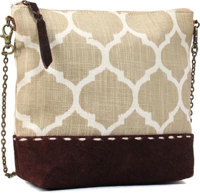 Hobo Women, Girls White Cotton, Genuine Leather Sling Bag