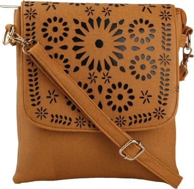 Quality Creators Women Tan PU Sling Bag