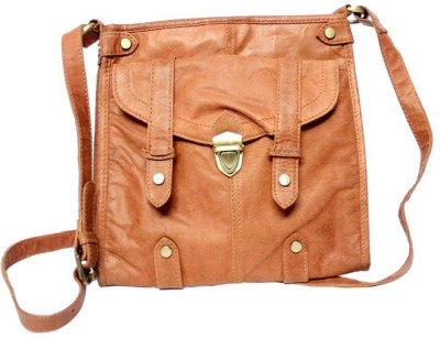 Leather Smith India Girls, Women Brown Genuine Leather Sling Bag