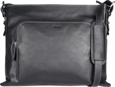 Viari Men Casual Black Genuine Leather Messenger Bag