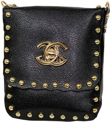 Gift Island Girls Black Leatherette Sling Bag
