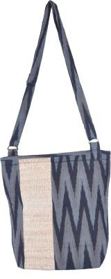 Rope International Women Casual Grey, Black Cotton Sling Bag