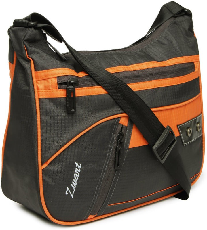 Zwart Men Casual Grey, Orange Polyester Sling Bag