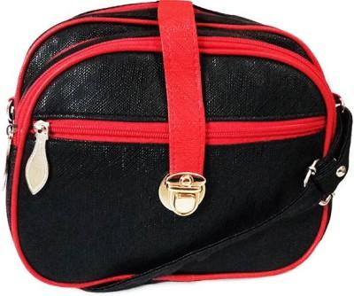 Chalissa Girls, Women Black, Red PU Sling Bag