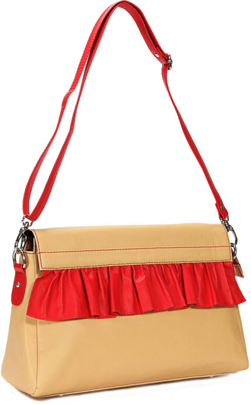 Borsavela Women Casual Beige Genuine Leather Sling Bag Fairy Frill