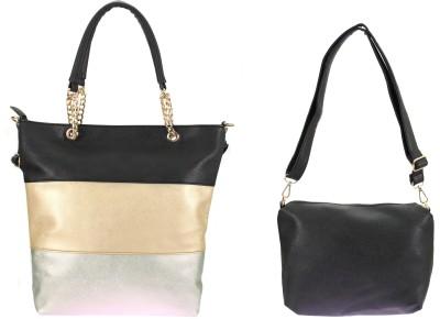velina Women Black, Gold PU Sling Bag