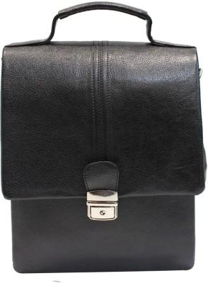 American-Elm Men Casual Black Genuine Leather Sling Bag