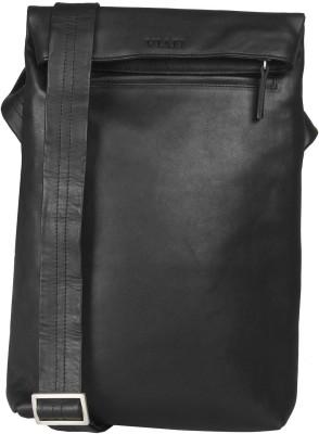 Viari Men Casual Black Genuine Leather Sling Bag