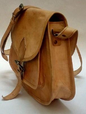 EKLCOM Boys, Girls Brown Genuine Leather Sling Bag
