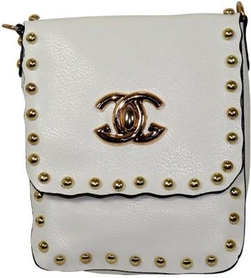 Gift Island Girls White Leatherette Sling Bag