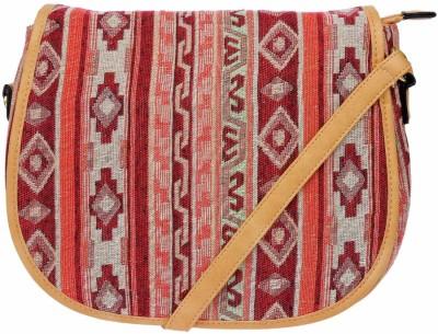 iva Women Khaki Leatherette Sling Bag