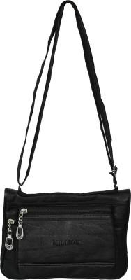 Diamonds World Women Black Genuine Leather Sling Bag
