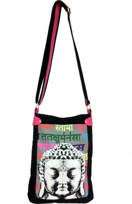 Carry on Bags Girls Casual Black Canvas Sling Bag