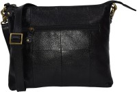 pellezzari Girls Black Genuine Leather Sling Bag