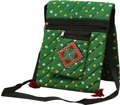 SAANKHYA Girls, Women Green Cotton Sling Bag