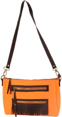 Mankha Women Evening/Party Orange Canvas Sling Bag