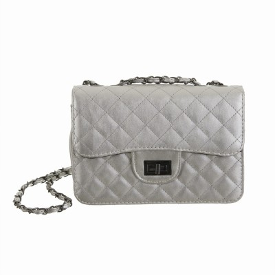 Peaubella Women Formal Silver PU Sling Bag