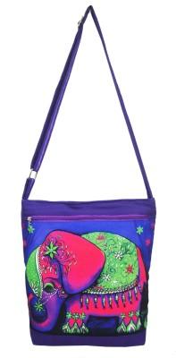 Shilpkart Women, Girls Purple Canvas, Cotton Sling Bag
