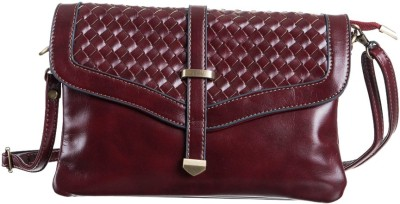 Peaubella Women, Girls Maroon Leatherette Sling Bag
