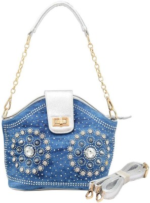 Shopaholic Fashion Women Blue PU Hand-held Bag