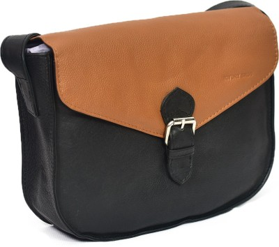 Rivory Bros Girls, Women Black, Brown Genuine Leather Sling Bag